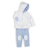 aden + anais Night Sky Starburst Hoodie with matching blue pants with knee patches