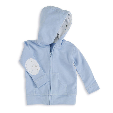aden + anais Night Sky Blue Hoodie with elbow patches and lined hoodie