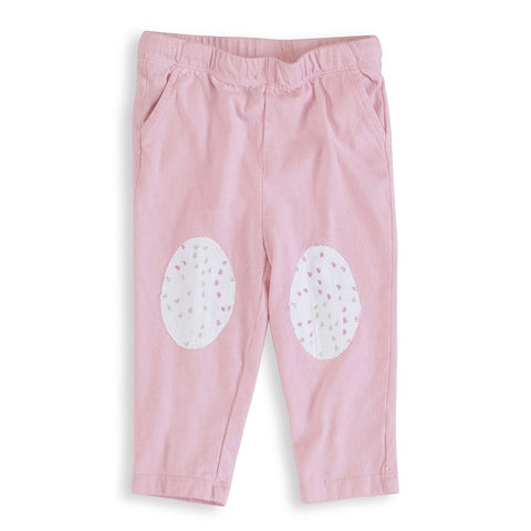 aden + anais Lovely Pink Jersey Pants with white and pink star knee patches