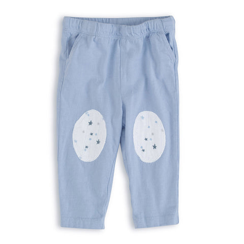 aden + anais Night Sky Blue Jersey Pants with white knee patches with star print