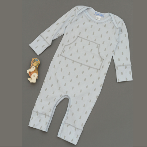 Baby Boy Faux Kangaroo Bear Long Sleeve Romper - Grey on Baby Blue