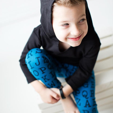 L'ovedbaby Lake Blue Alphabet Organic Leggings