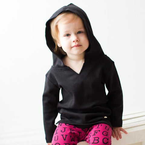 L'ovedbaby Black Organic Cotton Long Sleeve Hooded Shirt