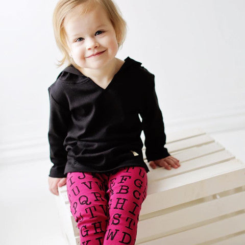 L'ovedbaby Magenta Alphabet Organic Leggings with Black Hooded Long Sleeve Shirt