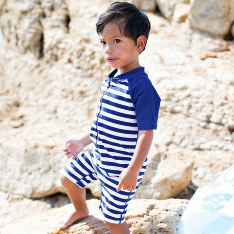 Baby Boy Ruffle Butts Blue Stripe One Piece Rash Guard with 50+ UPF sun protection