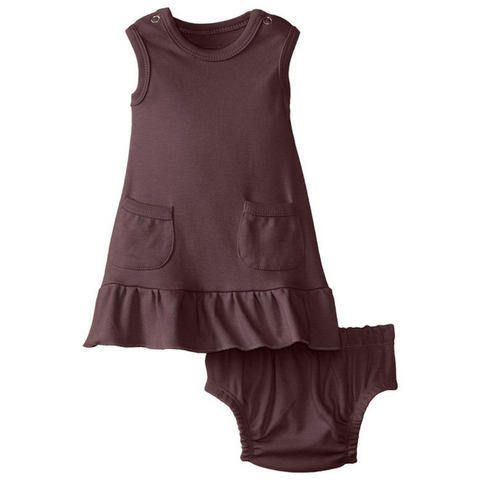 L'ovedbaby Eggplant Organic Cotton Baby-Doll Dress & Bloomers