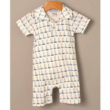 Feather Baby Sailboat Collared Pima Cotton Romper