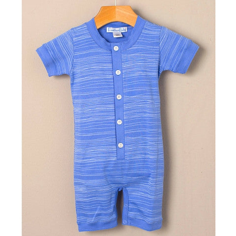 Baby Boy Feather Baby White on Blue Stripe 100% Pima Cotton Henley Romper Front