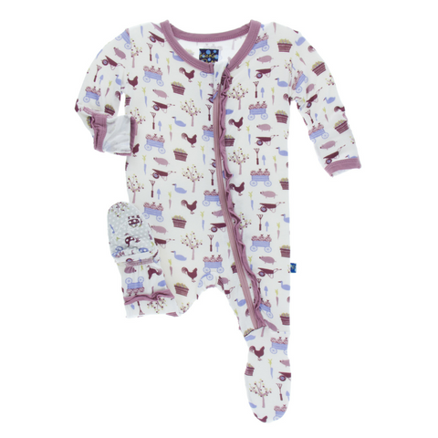 Kickee Pants Girl Natural Farm Muffin Ruffle Footie with zipper  flip paws and fleece feet