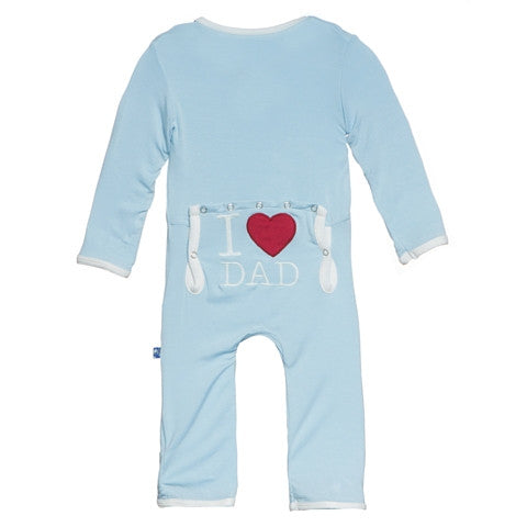 Kickee Pants Bamboo Pond I LOVE DAD coveralls with back flap