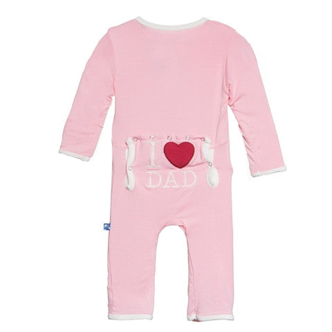 Kickee Pants Bamboo Lotus I LOVE DAD coverall with back flap