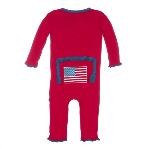 Kickee Pants Crimson American Flag Muffin Ruffle Appliqué Coverall
