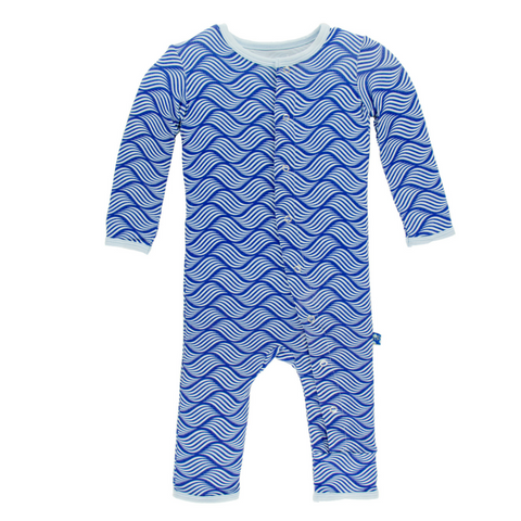 Kickee Pants Kite Water Lattice Bamboo Coverall for boys