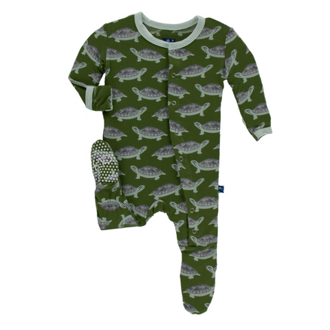 Kickee Pants Moss Turtle Footie For Baby Boys