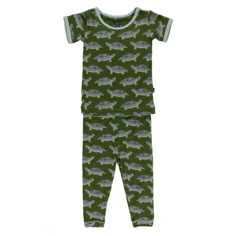 Kickee Pants Moss Turtle Short Sleeve Pajama Set for boys