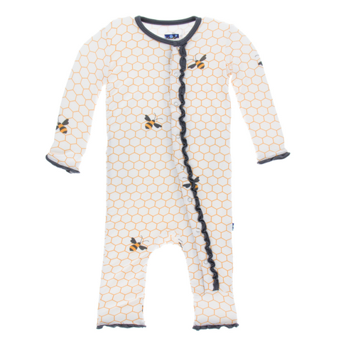 Kickee Pants Natural Honeycomb Muffin Ruffle Bamboo Coverall with snaps