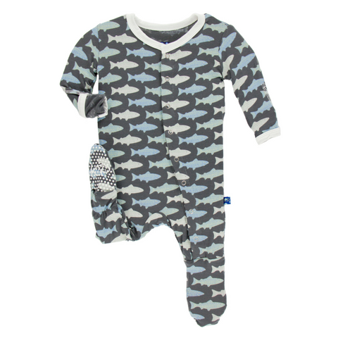 Kickee Pants Stone Trout Footie for baby boys