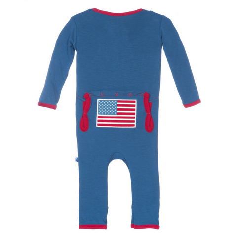 Kickee Pants Twilight American Flag Appliqué Fitted Coverall