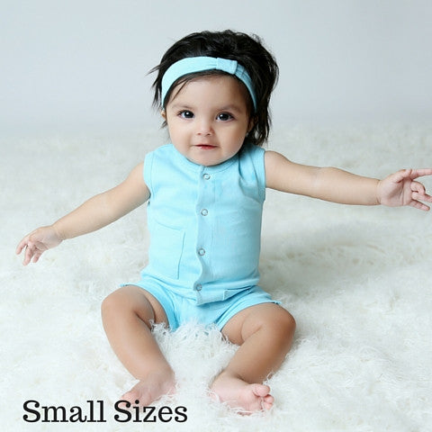 L'ovedbaby Organic Cotton Aqua Shortall Small Size with buttons front top to bottom and 2 small front pockets