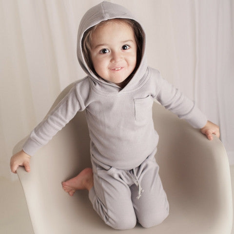 L'ovedbaby Light Gray Organic Cotton Thermal Hoodie for baby boy or girl