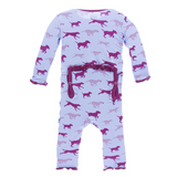 Kickee Pants Lilac Running Labs Muffin Ruffle Bamboo Coverall with snaps and back flap