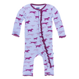 Kickee Pants Lilac Running Labs Muffin Ruffle Bamboo Coverall with snaps