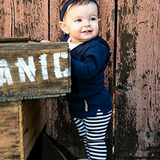 L'ovedbaby Navy and White Stripe Organic Cotton Leggings with Navy Hoodie