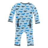 Kickee Pants Pond Running Labs Snap Bamboo Coverall with back flap for easy diaper changes