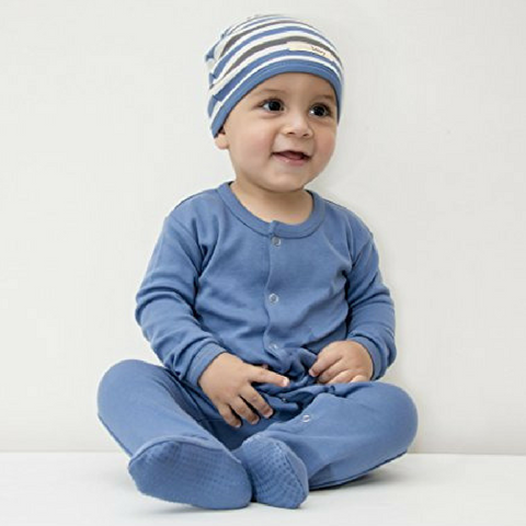 L'ovedbaby Slate Organic Cotton Footie with Slate stripe cute cap