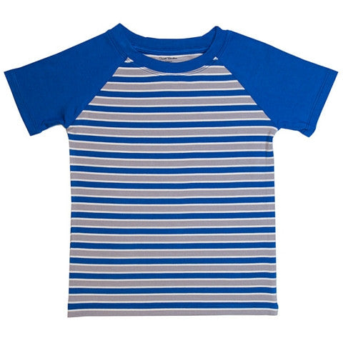 Sweet Bamboo Blue and Grey Stripe Raglan Short Sleeve T Shirt