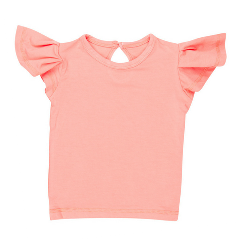 Sweet Bamboo Peach Flutter Sleeve Tee Shirt