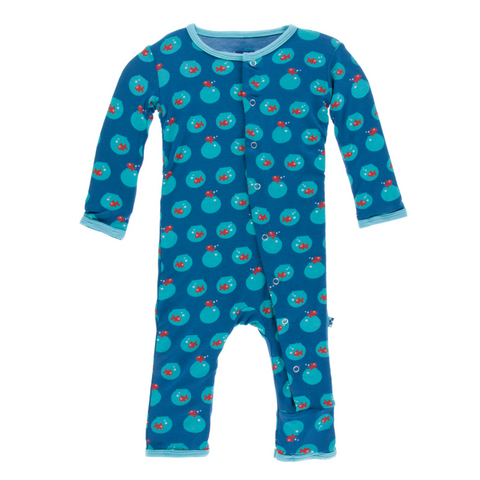 Kickee Pants Twilight Fishbowl Snap Coverall with back flap for easy diaper changes