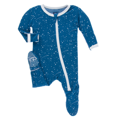 Kickee Pants Twilight Starry Sky Zipper Bamboo Footie