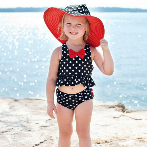Little girl Ruffle Butts Vintage Red Bow Peplum Tankini with 50+ UPF sun protection