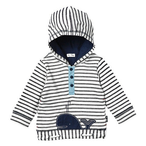 Boys Le Top Navy Stripe Whale French Terry Pull Over Hoodie