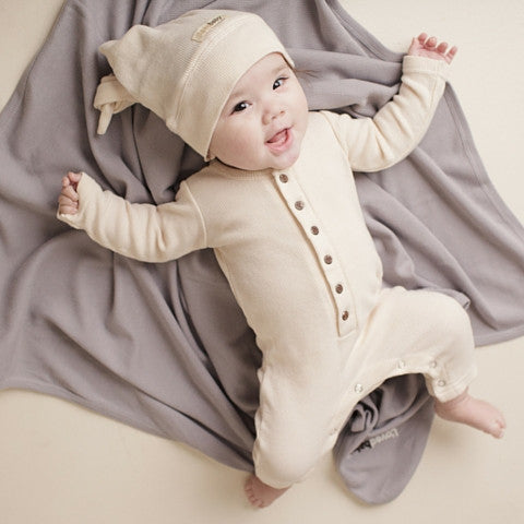 Biege L'ovedbaby Organic Cotton Thermal Romper Coverall