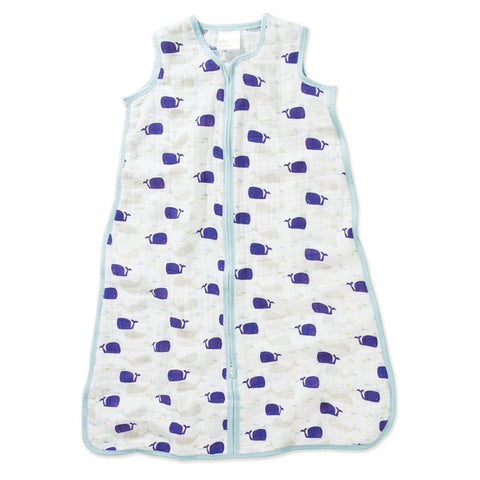 aden + anais High Seas Classic Sleeping Bag with blue whales