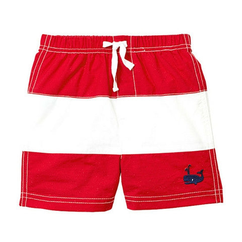 Toddler Boy Le Top Red Whale Swim Trunks