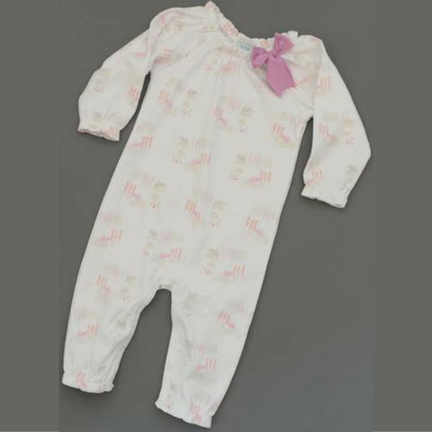 Baby girl Feather Baby Pink Bunnies on White Bow Romper