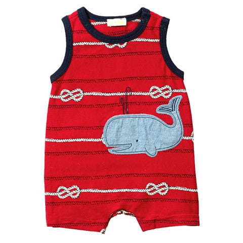 "Baby Boy Le Top Red ""By The Sea"" Sleeveless Whale Romper"
