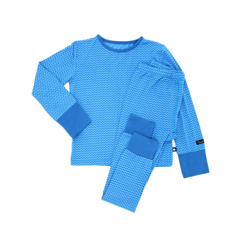 Sweet Bamboo Blue Triangle Long Sleeve 2 Piece Pjs