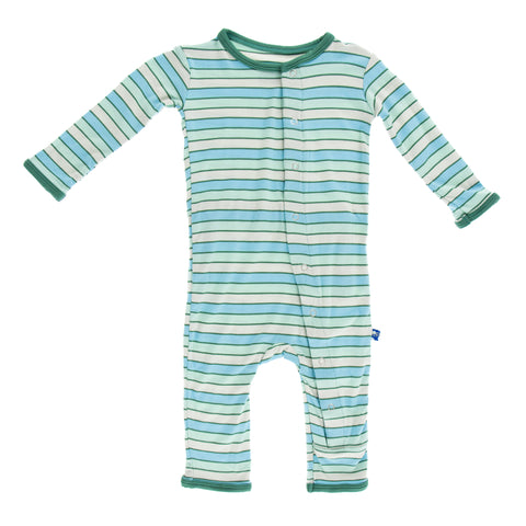 Kickee Pants Boy Tropical Stripe Fitted Bamboo Coveralls
