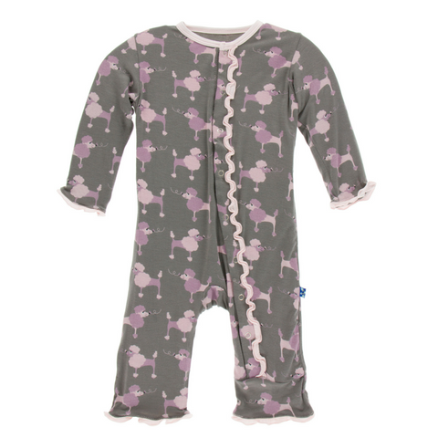 Kickee Pants Cobblestone Poodle Muffin Ruffle Super Soft Bamboo Snap Coverall