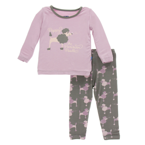 Kickee Pants Cobblestone Poodle Long Sleeve Super Soft Bamboo Pajama Set