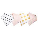 Copper Pearl Blush Baby Girl Bandana Bibs - 4 Pack cotton front fleece back