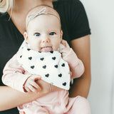 Copper Pearl Blush Baby Girl Bandana Bibs Black and White Hearts