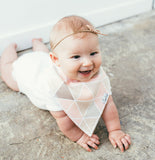 Copper Pearl Blush Baby Girl Bandana Bibs Pink and Tan Triangles