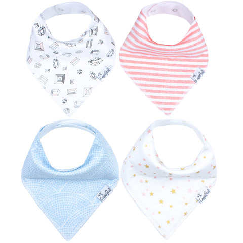 Copper Pearl Isla Baby Girl Bandana Bibs - 4 Pack Cotton Front Fleece Back