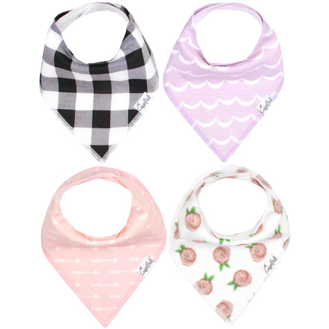 Copper Pearl Rosie Baby Girl Bandana Bibs - 4 Pack Cotton Front Fleece Back