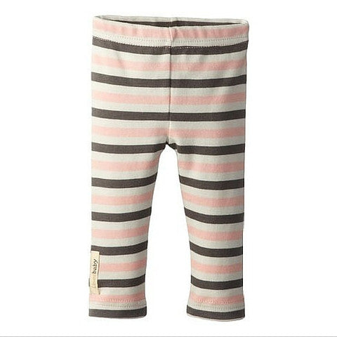 L'ovedbaby Coral Stripe Organic Cotton Leggings for baby girl
